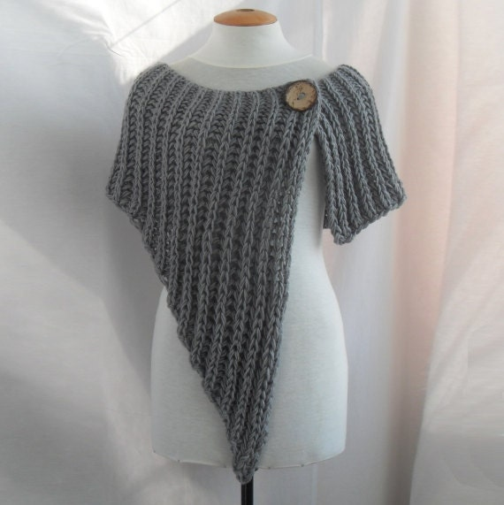 Asymmetrical knitted wrap shawl