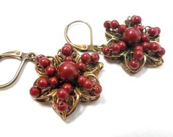 Burgundy Pearl Drop Earrings, Floral Filigree, Glass Pearl, Antiqued Brass, Flower Earrings, Wine Glass Pearls, Summer Fashion