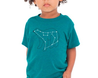 Ursa Major Bear Constellation Stars Shirt, evergreen short sleeve metallic silver foil print, polar bear animal star space science print