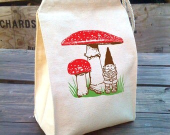Lunch Bag, Eco Red Mushrooms Lunch Bag garden gnome design, Recycled Cotton Canvas Snack sack with rope handle, velcro, and woodland scene