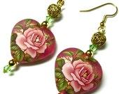 Tensha Bead Earrings, Japanese Tensha Beads, Heart Earrings, Rose Earrings, Flower Earrings, Pink, Gold