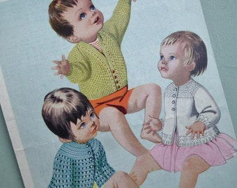 Vintage Knitting Crochet Pattern 1960s 1970s Baby Clothes Matinee Jackets Coats Cardigans Dress 9 - 18 months 60s 70s original pattern