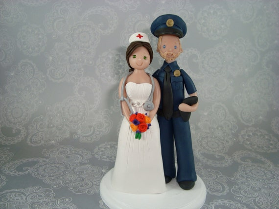 police officer and nurse wedding cake topper officer amp customizide wedding cake topper by 18671
