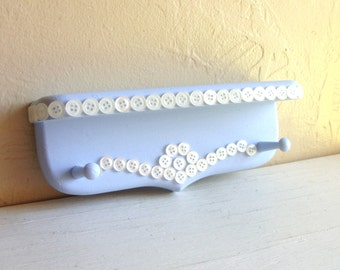 SALE Light Blue Wood Wall Shelf Decorated in White Buttons Peg Hooks