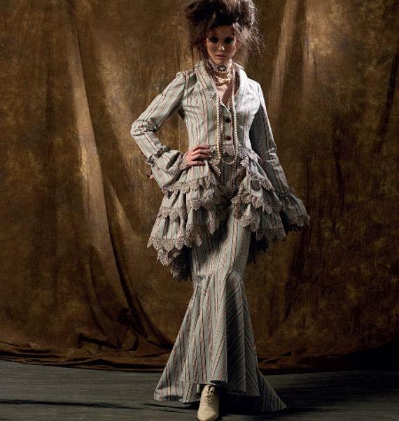 Womens Victorian Steampunk Pattern Corset Jacket Skirt Bustle