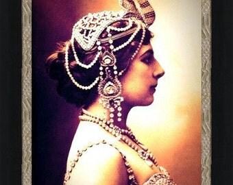 MATA HARI PROFILE in Jeweled Headdress -  World War 1 spy ~ Giclee Fine Art Print of Enhanced Vintage Photo