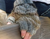 Crochet Half-Finger Gloves/ Fingerless Gloves Steampunk Accesory/ Brown