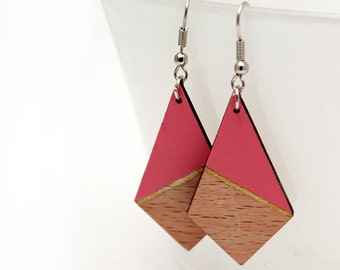 Geometric triangle wooden earrings - salmon rose, natural wood and gold - minimalist, modern jewelry