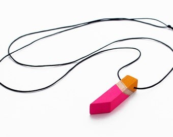 Geometric wooden necklace - neon pink, yellow, natural wood, gold - minimalist, modern jewelry - color block