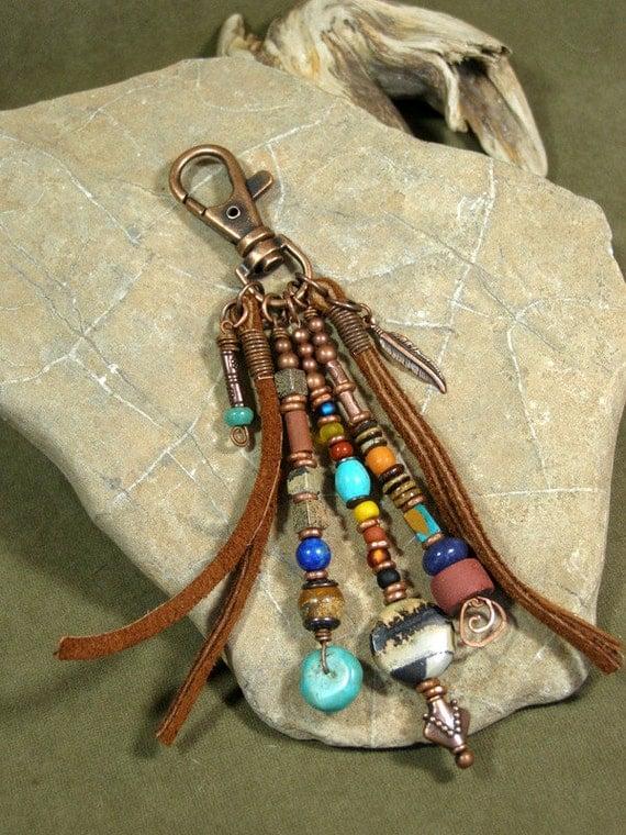 Purse Charm Zipper Pull Keychain Tassel Charm Tassel