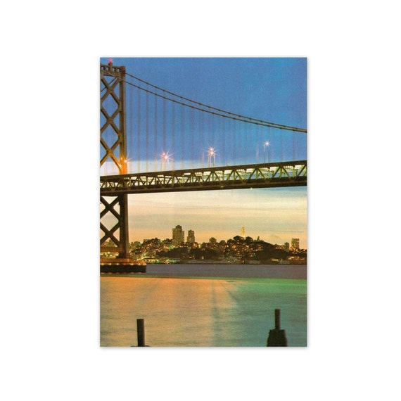 Vintage 1970s San Francisco, California Print.Golden Gate Bridge at Dusk. Ready to Frame. Skyline, America, Architecture. (No. 354)