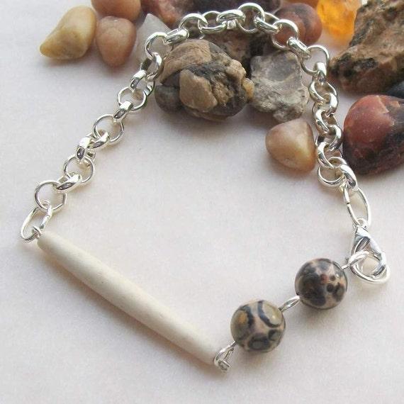 "Edison Jasper & Silver Bracelet - Handmade OOAK, 8"", for Men or Women, Free US Shipping, Metaphysical Healing Jewelry, Leopardskin Jasper"