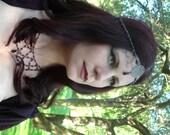Gothic Purple Headdress - Sparkling Purple Crystals with Gunmetal Centerpiece and Black Drop