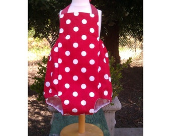 Bubble Romper Sunsuit  with Butterfly Bow or Ruffles in Polka Dots for Baby Girls