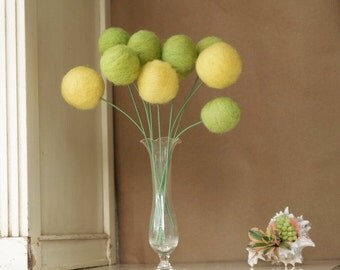 Wool Pom Pom Flowers, felt Craspedia Billy Button Ball Bloom Autumn home decor woodland yellow moss green housewarming gift