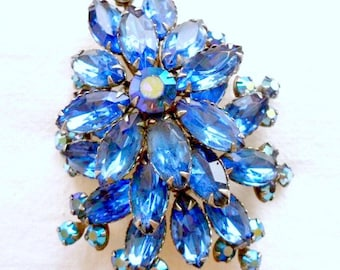 Vintage Cathe Blue Rhinestone Brooch Pin Designer Estate Jewelry Signed