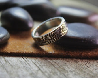 Wood Grain Sterling Silver Band