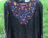 WOW Sequin and Beaded Blouse Vintage 1980's