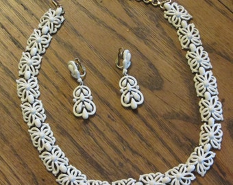 Monet Necklace and Trifari Earring Set Vintage 50's Fabulous Costume Jewelry