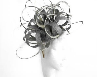 Grey Kremena Fascinator  Hat for Weddings, Occasions and Parties With Headband
