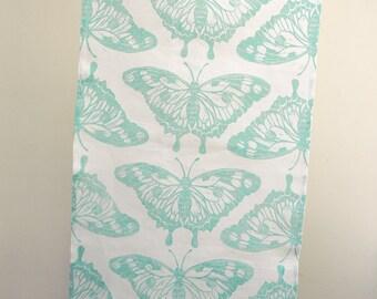 Butterfly hand printed in robins egg, celery green or sky blue on white linen tea towel hostess gift for her gift for gardener