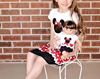 Boutique Matching Doll and Girl Outfits - Minnie Mouse Inspired Skirt and Shirt
