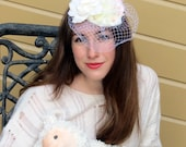 "Bridal fascinator - white birdcage, ivory, white, blush ""Liza Bride"""