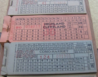 Vintage Large Bus & Streetcar Tickets, Mixed Colour Ticket Lot, 12 Pieces, Scrapbooking, Journalling, Smashbook Epehemera