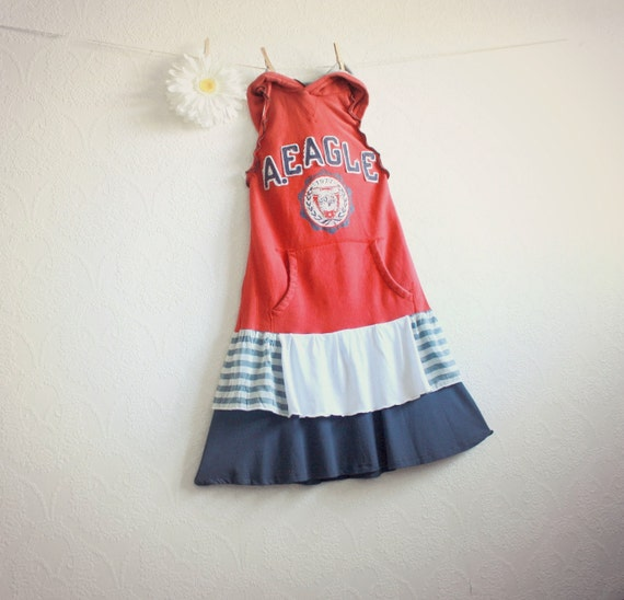 Red Hoodie Upcycled Dress Preppy Sporty Recycled Clothing Women's Halter Casual Dress Navy Blue Eco Friendly Small Medium 'RUTHIE""