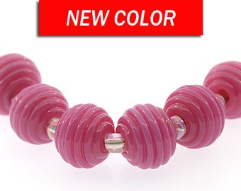 Lampwork Bead Set, Handmade Bright Pink lampwork ribbed round beads,  Made to Order, pink lampwork beads, Bims Bangles