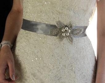 Wedding Sash Belt, Bridal Belt, Sash Belt, Wedding Dress Sash, Crystal Rhinestone Belt, Gray Sash