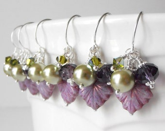 Bead Cluster Earrings, Purple and Olive Dangles, Autumn Jewelry, Leaf Bead Earrings, Fall Weddings, Bridesmaid Jewelry, Pierced or Clip On