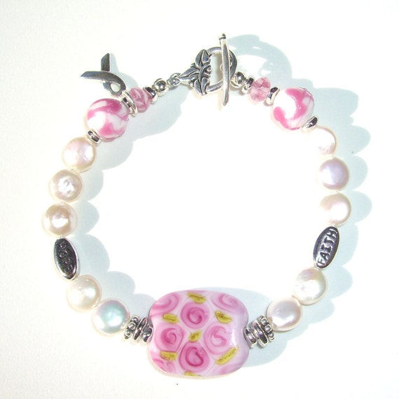 Breast Cancer Awareness Bracelet Survivor Jewelry Pink