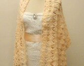 ON SALE Wedding Shawl Crochet Bridal Wrap  Hand Crocheted Elegant Soft Shining  Salmon Pink