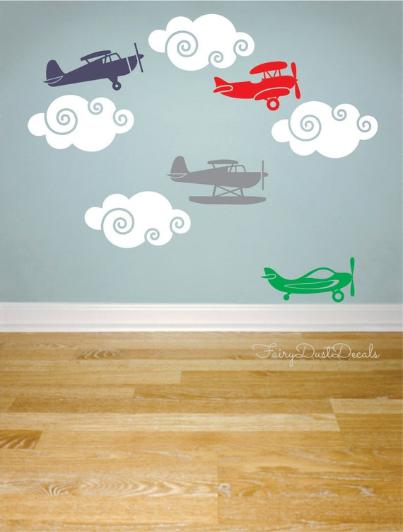 Airplane wall decals cloud stickers nursery wall decor for Aeroplane wall mural