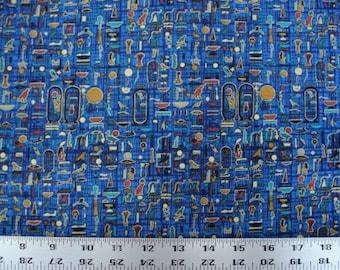 EGYPTIAN FABRIC Timeless Treasures RARE Egyptian Luxor Hieroglyphs Blue 1996 - 1 Yard