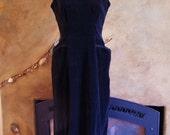 Black Velvet Dress 40s 50s LBD Curvy sleeveless Little Black dress size M