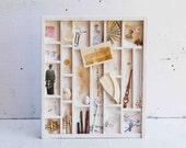 Collection from the Past - Vintage Composition Printer Type BOX Art Filled Assemblage Mixed Media Collage Found Treasures