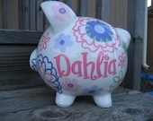 Lacey Flowers-Personalized Piggy Bank-Size Large