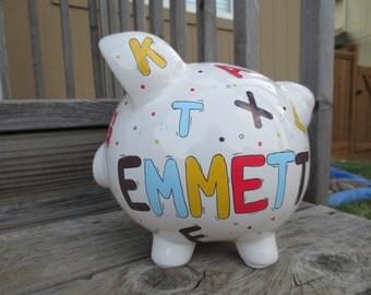 Large-Custom Personalized Piggy Bank-Alphabet II