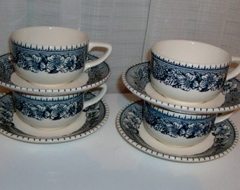 4 Cavalier Ironstone Cup and Saucer Sets by Royal China
