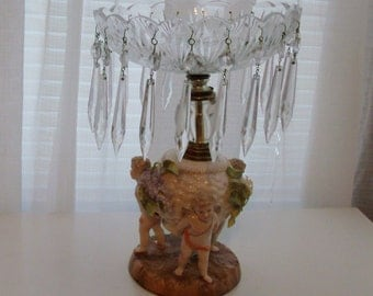Victorian Cupid Base Compote with Crystal Prisms (Code j)