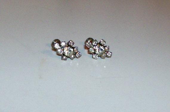 Silver Sparkly Rhinestone Earrings