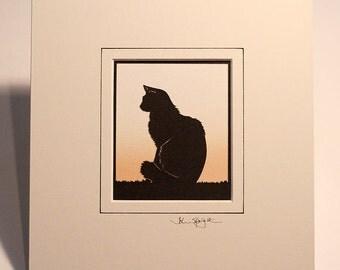 Cat (Fluffy) Hand-Cut Papercut