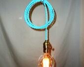 Light Blue Hanging Lamp - Exposed Edison Bulb
