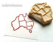 australia map stamp. country map hand carved rubber stamp. geography stamp. teacher's stamp. pin your city. moving card making. scrapbooking