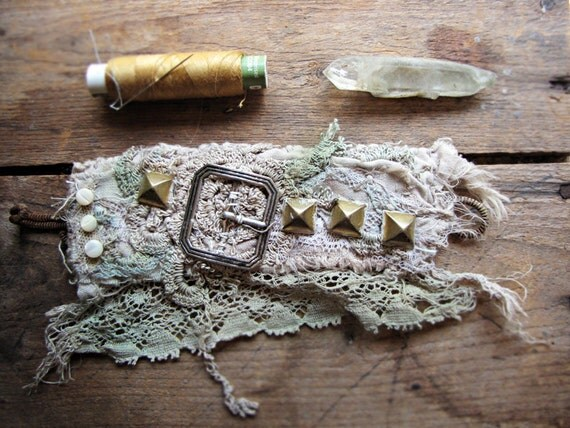 antique lace wrist cuff - reclaimed fabrics - artisan textile jewelry - for Wildthorne