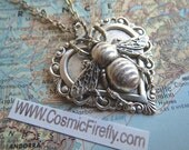 Silver Bee Necklace Gothic Victorian Antiqued Metal Heart Necklace Lightweight Pendant Vintage Inspired Style Feminine Steampunk Jewelry