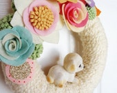 Puppy-  The Original Felt and Yarn Wreath -  Retro Door Decoration in Cream and Pastel- Home Decor Art Textile