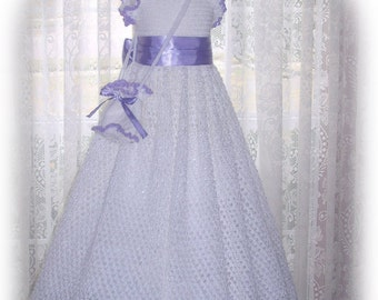 Spring - Olivia's Shimmering Lace crochet children dress Digital e Pattern (girl size 8, 10, 12, 14) 002P-LG